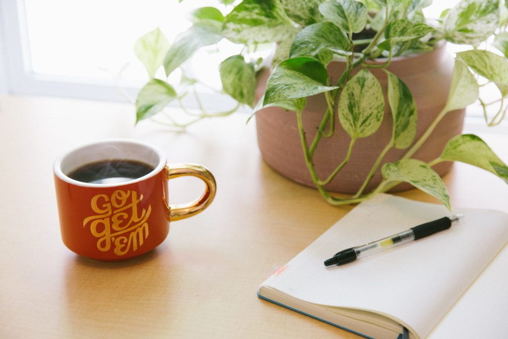 "red coffee mug that says ""go get em"" next to a notebook, pen, and plant on a desk"
