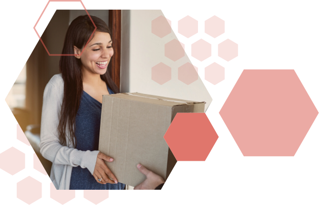 Woman receiving package that is delivered right to her door